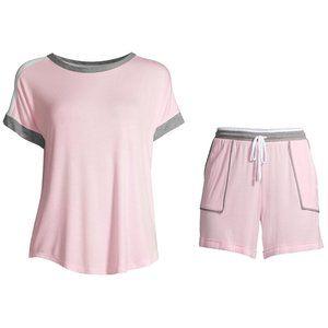 Womens SMALL Pajamas PJs Top Shorts Set PINK NEW